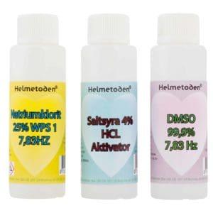 3 flaskor Natriumklorit (en flaska gratis), 3 flaskor Saltsyra 4% & 3 flaskor DMSO