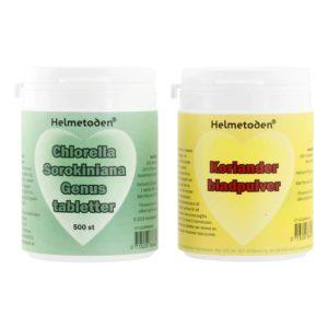 5 burkar Helmetoden Chlorella Sorokiniana och 5 burkar Helmetoden Koriander bladpulver